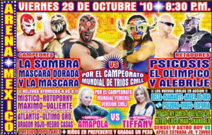 Previo Arena México (viernes 29 de octubre) ¡El campeonato mundial de tercias y el campeonato mundial femenil en juego! 2