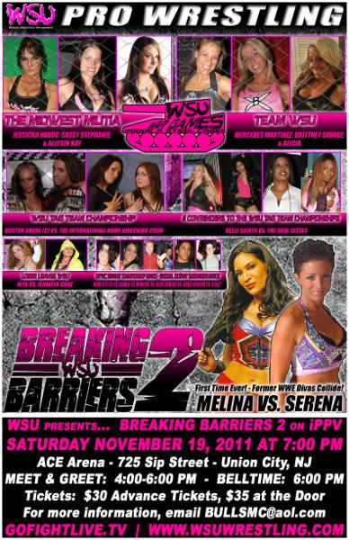 WSU Breaking Barriers 2 (19 de nov.): War Games Steel Cage Match – Melina vs. Serena 2