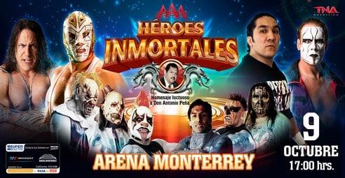 AAA Héroes Inmortales  (Cobertura y resultados 9 de Octubre de 2011) - Mesias y Sting empatan y unen sus fuerzas contra Konnan, Jarrett y sus aliados, Wagner gana pero Octagón y La Parka lo traicionan, los perros pierden las cabelleras 1