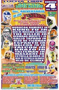 1er. Aniversario de los Juniors (Resultados 4 de dic.): Gallo Tapado Jr. deja sin máscara al Hermano Muerte Jr. 1