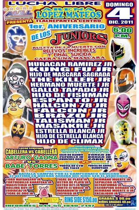 1er. Aniversario de los Juniors (Resultados 4 de dic.): Gallo Tapado Jr. deja sin máscara al Hermano Muerte Jr. 2