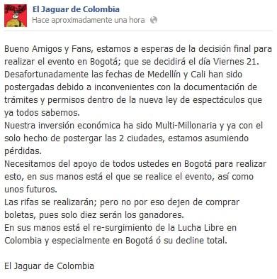 Torneo Unificación de Ligas en Cali, Colombia, se posterga 4