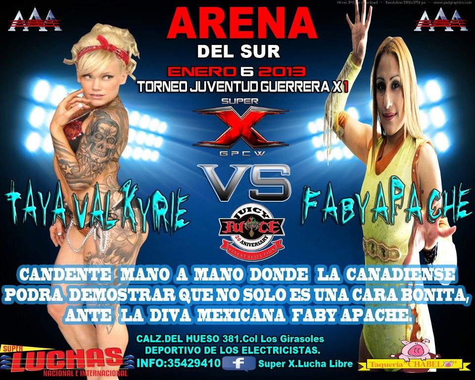 Super X Wrestling: Taya Valkyrie vs. Faby Apache /Arena del Sur - 6 de enero de 2013 / Imagen by Super X.Lucha Libre en Facebook