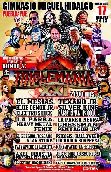 """AAA Sin Límite: ¿Quién será el luchador sorpresa? / el Gimnasio """"Miguel Hidalgo"""" de Puebla - 17 de mayo de 2013 / Image by @Lucha_Libre_AAA en Twitter"""