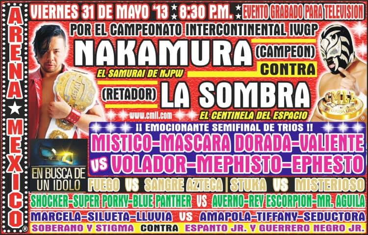 CMLL: Shinsuke Nakamura (c) vs. La Sombra por el Campeonato Intercontinental IWGP - Shocker regresa / Arena México - 31 de mayo de 2013 / Image by www.cmll.com