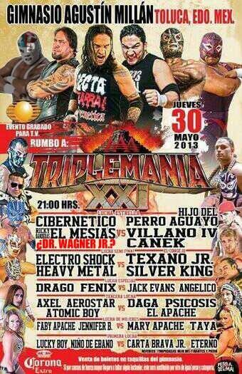 """AAA Sin Límite: ¿El luchador sorpresa será Dr. Wagner Jr.? / Gimnasio """"Agustín Millán"""" de Toluca, Edomex - 30 de mayo de 2013 / Image by @TheTayaValkyrie en Twitter - Modificación por Dement X-treMEX 187"""