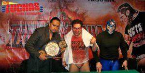 Triplemania XXI: Conferencia de Prensa con los triunfadores: Hijo del Perro Aguayo, Blue Demon Jr. y Texano Jr. 3