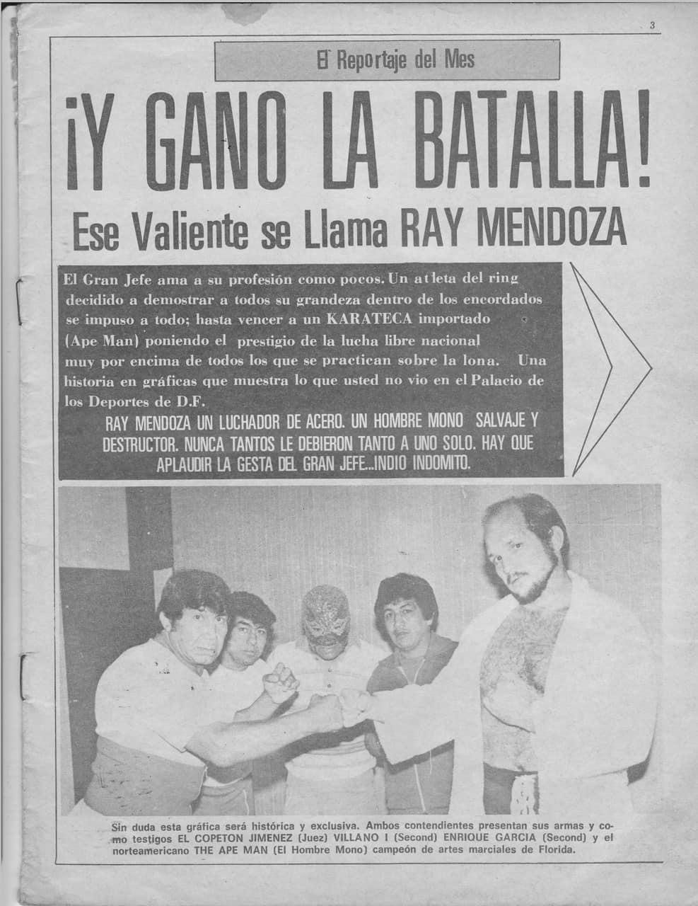 Ray Mendoza vs The Apeman (1981) - Imagen 01 - Revista El Halcón / Boxylucha.com