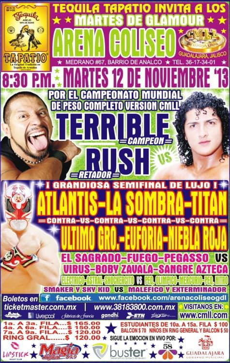 Coliseo de Guadalajara (12 de noviembre) Rush vs Terrible por el campeonato de peso completo del CMLL 16