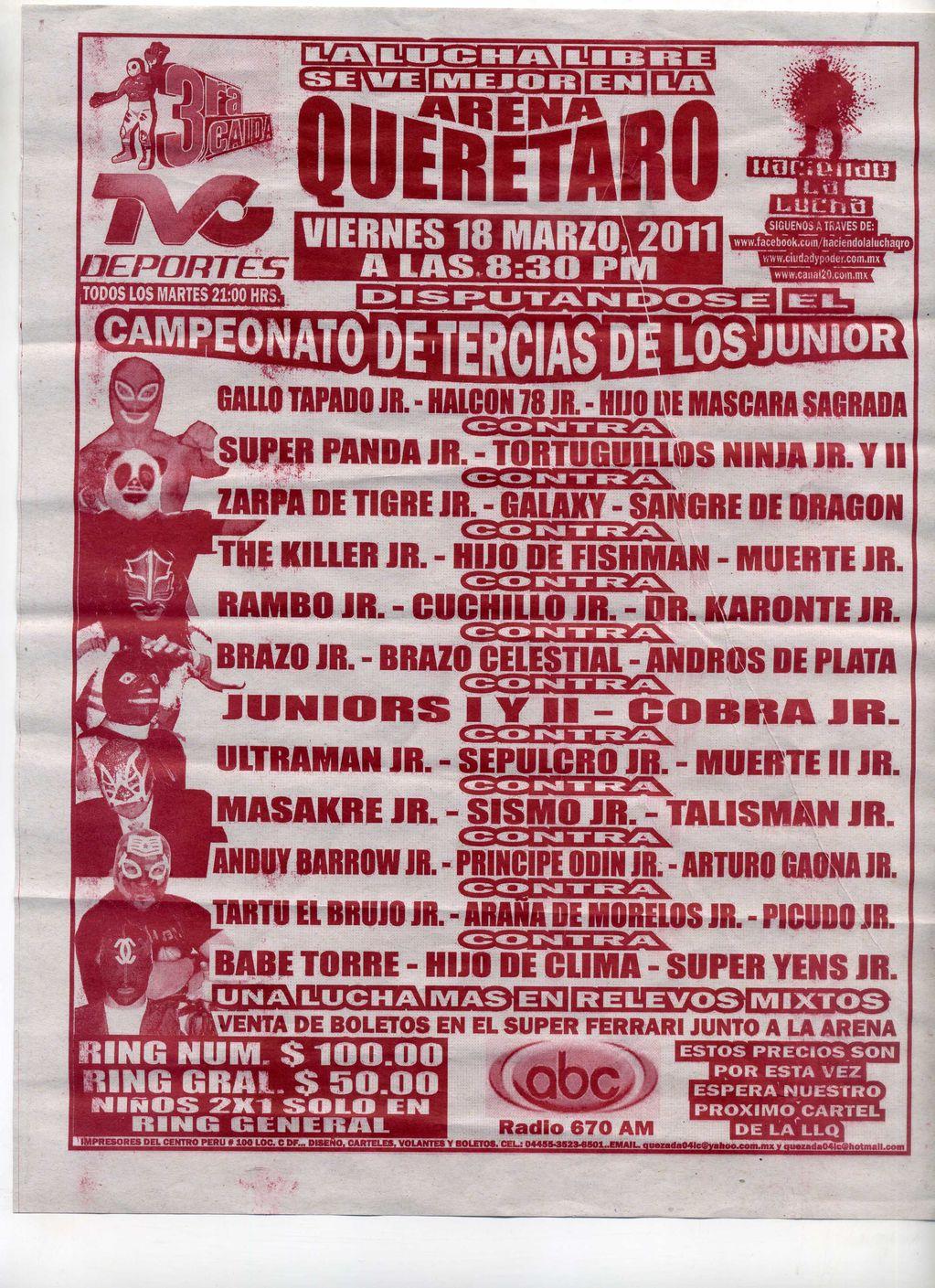 Arena Querétaro: Máscara Sagrada Jr., Halcón 78 Jr. y Gallo Tapado Jr., NUEVOS CAMPEONES DE TERCIAS DE LOS JUNIORS – Picudo Jr., Brazo Celestial, entre otros 6